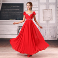 cap sleeve bridal long red evening dresses 2017 new chiffon princess sweetheart party gown dress royal blue black plus size