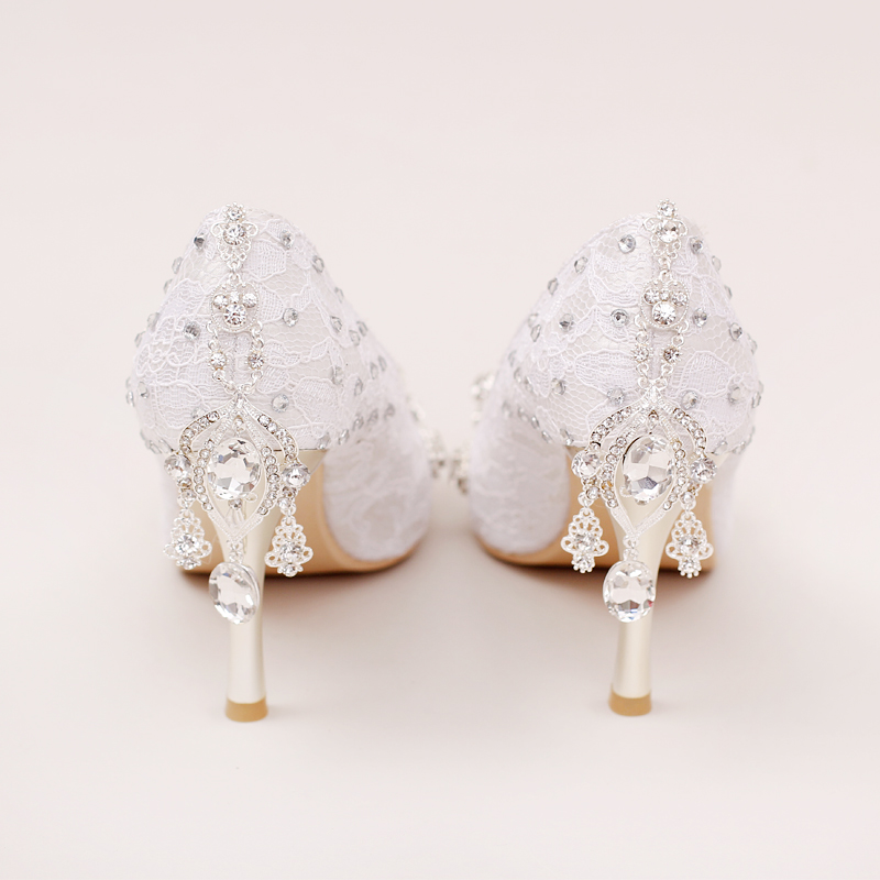 ФОТО White Lace Bridal Shoes rhinestone ultra High Heels Wedding Shoes thin Heels pointed toe formal dress Shoes crystal pendant red