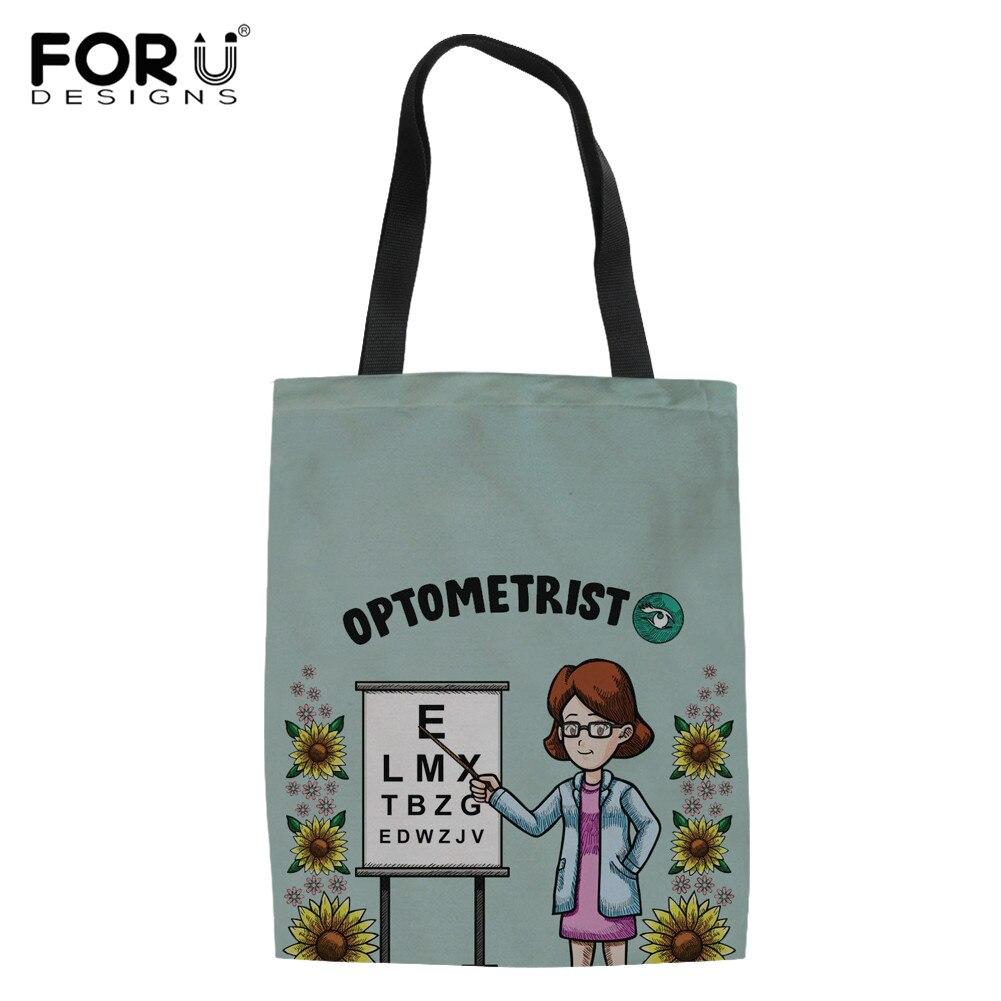 Optometrista FORUDESIGNS Padrão Saco de Compras Reutilizável Dobrável Shopper Tote Bolsa de Ombro Das Mulheres Saco Bolsas de tela de Algodão
