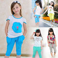 2016 New Girl's Fashion Summer Clothes Children Clothing Sets Cotton T-shirt +half Pants 2pieces Teenager Casual Sports Suits