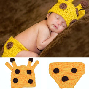 Новый крючком костюм для малышей Комплект Детская шапочка ручной работы + комплект подгузник-шапочка малышей подставки фотографий новорож...