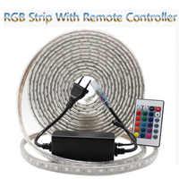 LED Strip Flexible light 60leds/m Waterproof led light SMD 5050 AC 220V +Power Plug 1M/2M/3M/4M/5M/6M/7M/8M/9M/10M/15M/20M