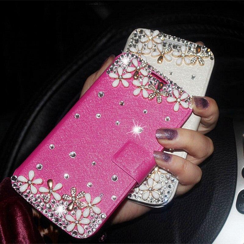 Flower Bling Diamond Flip Wallet Leather Case For Samsung
