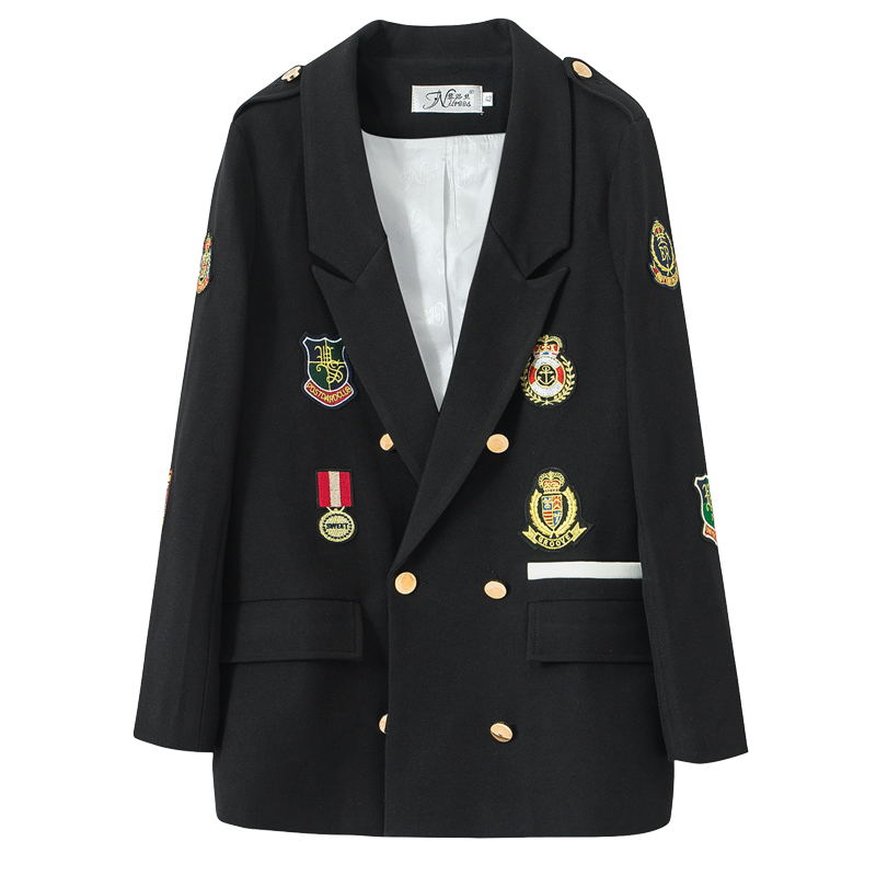 2020 New Spring Paragraph Badge Long Sleeve Suit Female Plus Size Loose Casual Women Blazers Suit Jacket Female Long Z271