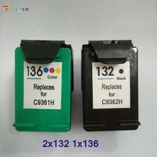 Vilaxh Compatible Ink Cartridge replacement For HP 132 136 Photosmart 2573 C3183 D5163 1513 Officejet 6213 5443 D4163 Printer