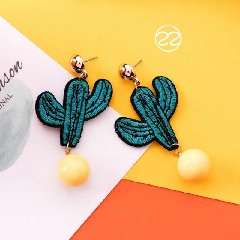 2019 Summer Korea Sweet Orange Orange Yellow Fruit Tree Bee Long Personality Pendant Earrings Women Fashion Jewelry Accessories