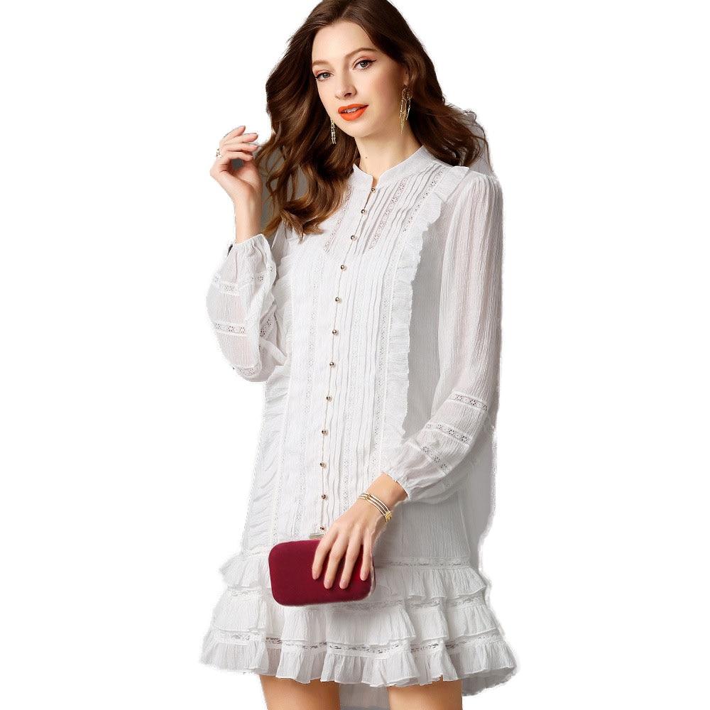Transparent Femmes Hérisse Dames De Décontracté Évider Coréen Manches Blanc Col White Court Robe À Robes Débardeur Montant Longues Plage f6gvYb7y