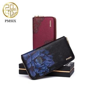Image 3 - Pmsix yeni inek deri kadın cüzdanı marka uzun bölüm baskılı çiçekler bayanlar çanta zarif debriyaj Portefeuille Femme
