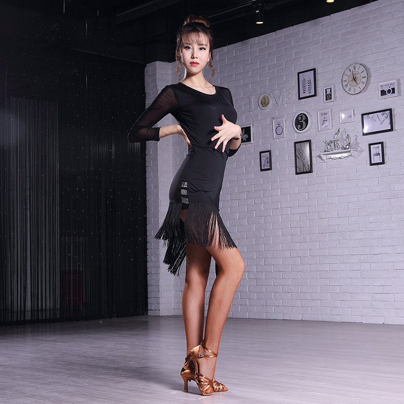 Latin Dance Dress Dance Competition Costume Black Tango Dress Women Clothes For Salsa Slim Sexy Tassel Dress Ice Silk DN1426