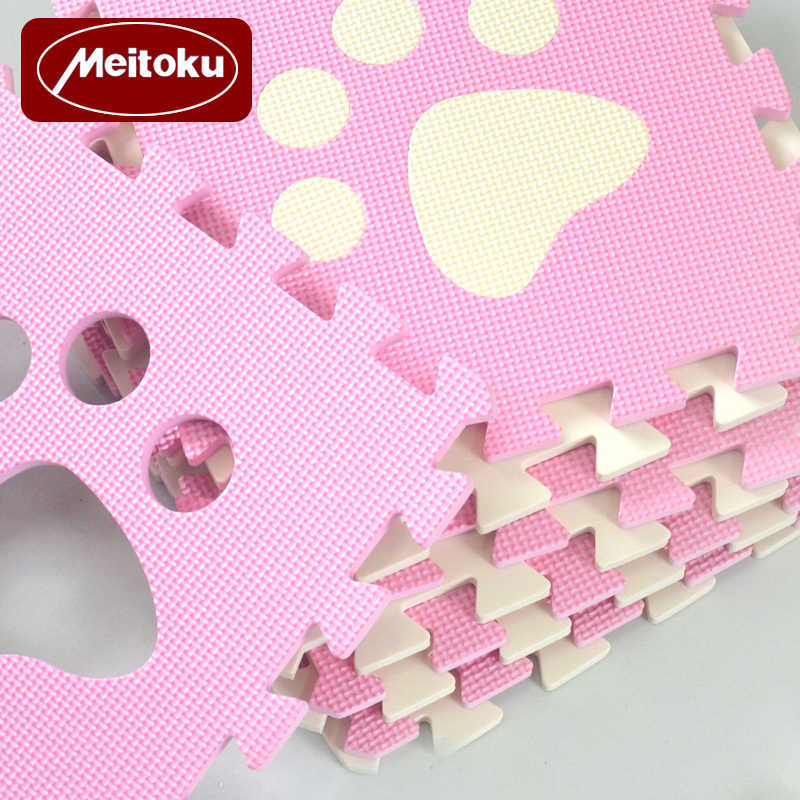 Meitoku 10 adet/takım bebek EVA köpük oyun bulmaca matı, kilitli tarama fayans ve halı, ücretsiz sihirli halı her parça 32x32cm kalın 1cm