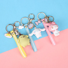 Korea Cartoon Epoxy Pudding Dog Key Chain Big Ear Cool Penguin Cute Keychain Bag Pendant Gift  Girl