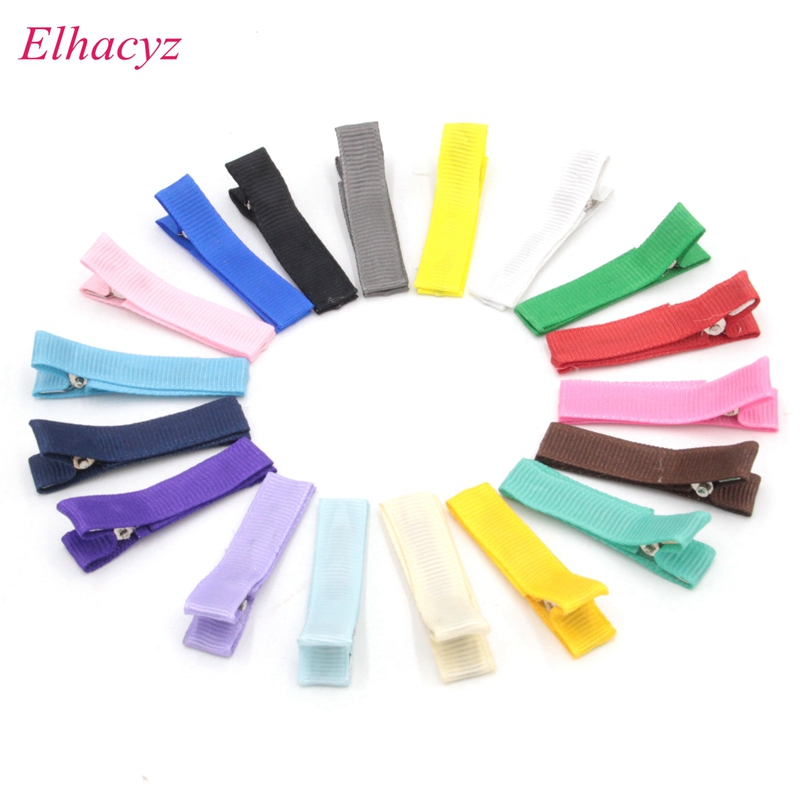 18pcs/lot New Arrival 45mm Small Cute Solid Hairclip Whole Wrapped Safety Hair Clips Kids Hairpins Handmade DIY Hair Accessory