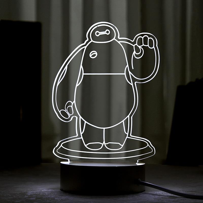 Acrylic LED Lamp 3D Baby Night Light Sleeping Lighting 5V USB Small led table Lamp Baymax Creative Small Desk Lamp
