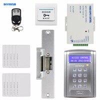DIYSECUR Controle Remoto Cartão de IDENTIFICAÇÃO de Controle de Acesso Sistema de Segurança Kit Com Botão da Campainha + Greve de Bloqueio BC200 card access card access control access control -