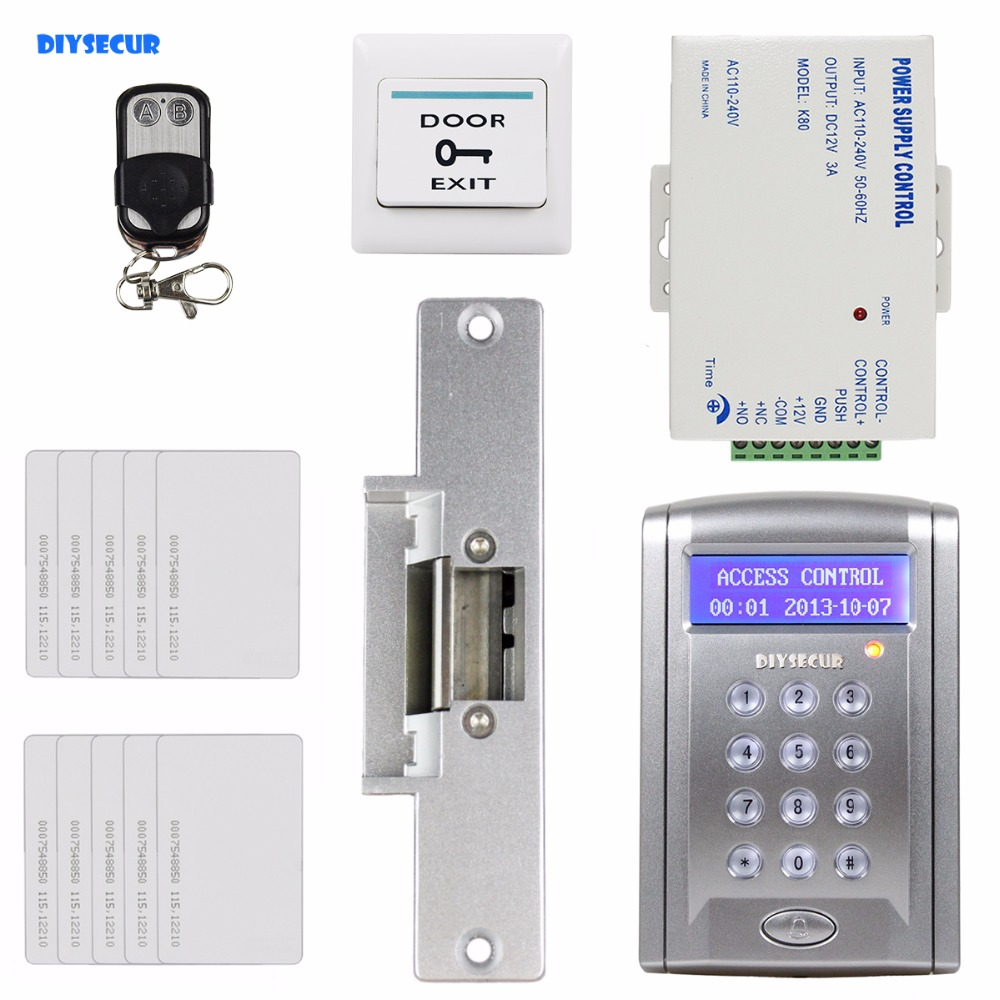 DIYSECUR Remote Controlled ID Card Access Control Security System Kit With Doorbell Button + Strike Lock  BC200 diysecur remote controll id card reader password keypad access control security system kit strike lock kd2000