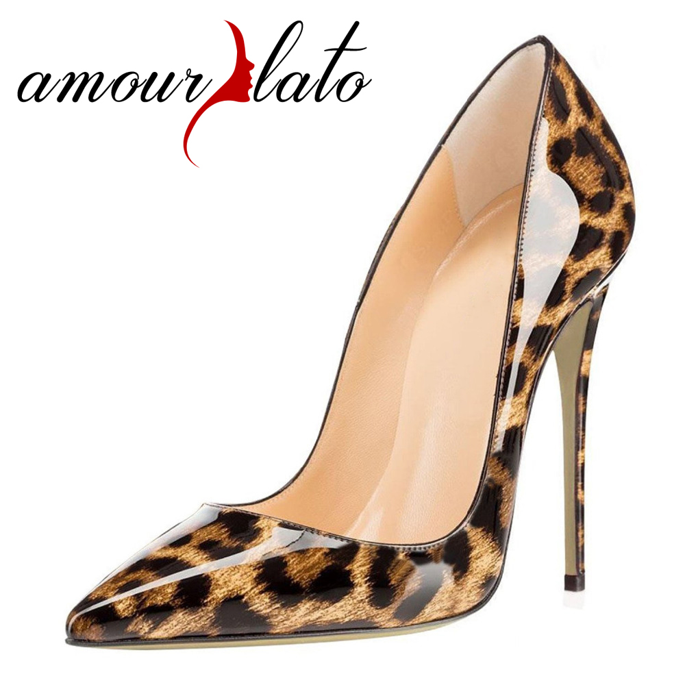 Amourplato Women's Pointed Toe Leopard Pattern Fashion Pumps Stiletto  Animal Print  Party Patent Dress Shoes 12cm Heel Height fashion tassels ornament leopard pattern flat shoes loafers shoes black leopard pair size 38