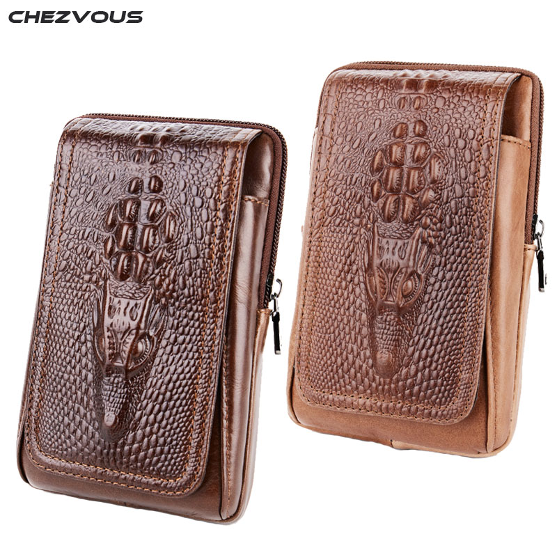 CHEZVOUS 2018 Leather Belt Pouch for Xiaomi Fashion Retro Crocodile Pattern Cell Phone Belt Pouch for iPhone 7 6 plus Waist PackCHEZVOUS 2018 Leather Belt Pouch for Xiaomi Fashion Retro Crocodile Pattern Cell Phone Belt Pouch for iPhone 7 6 plus Waist Pack