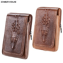 CHEZVOUS 2018 Leather Belt Pouch for Xiaomi Fashion Retro Crocodile Pattern Cell Phone Belt Pouch for iPhone 7 6 plus Waist Pack