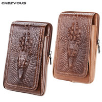CHEZVOUS 2018 Leather Belt Pouch For Xiaomi Fashion Retro Crocodile Pattern Cell Phone Belt Pouch For