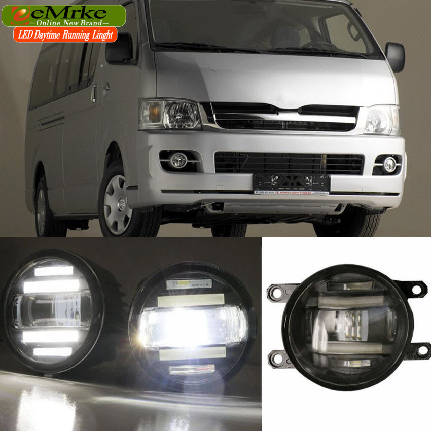 eeMrke Xenon White High Power 2in1 LED DRL Projector Fog Lamp With Lens For Toyota HiAce H200 2004- up цена