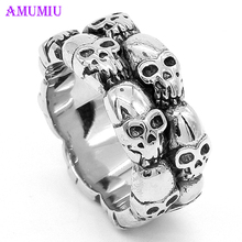 AMUMIU 2018 New Fashion Silver Gothic Skull Ring Man Fashion Rings Men Finger Ring Men's Punk 316L Stainless Steel R024 shiying jz014 men s stylish 316l stainless steel ring silver