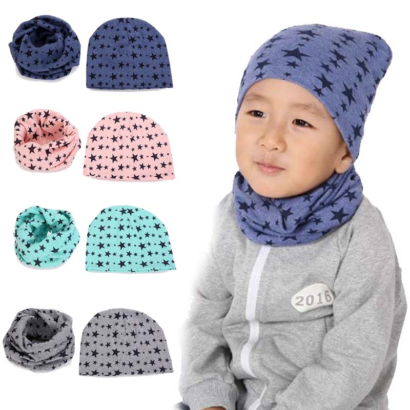 2018 Fashion Autumn Winter Baby Hat Girls Boys Cap Children Hats Toddler Hat  +Scarf Collars 2pcs Star Printed Bonnet Bebe-in Hats   Caps from Mother    Kids ... e68d80976957