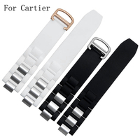 Quality 20 10mm Silicone Rubber Black White Watchband Waterproof Strap Bracelet For CartierWatch 21 Century