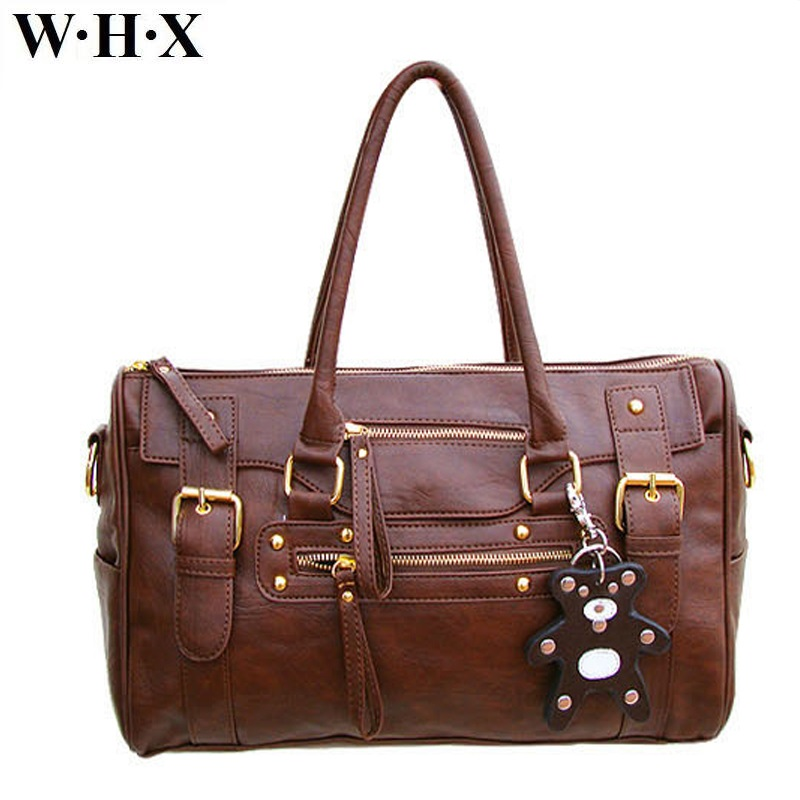 WHX Casual Fashion New Style Women Tote Bag Shoulder Bags Female Cross Body Messenger Bag Pu Leather Brown Handbag Women Classic