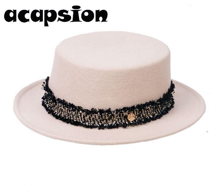 Acapsion Women White Wool Jazz Hats Short Brim Panama Fedoras Woolen Bowler Hat For Women Chapeau Femme Mariage sombrero mujer