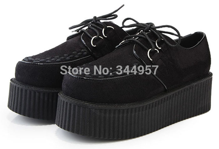 Icoiny Women's black Leather creepers Platform Shoes Flats