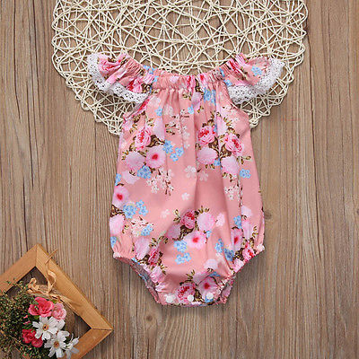 Newborn Infant  Baby Girls Clothes Summer Flying Short Sleeve Pink Floral Lace Cotton Romper Jumpsuit Baby Outfits Clothes