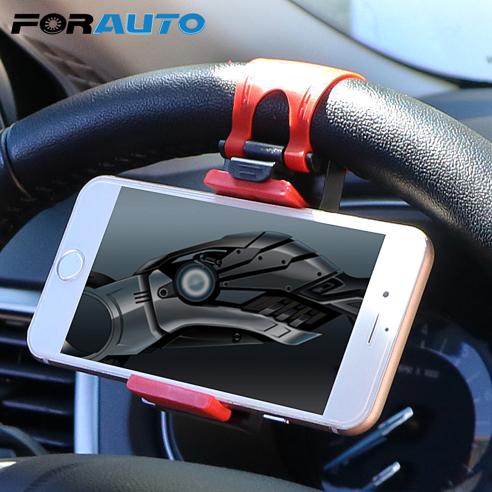 FORAUTO Car Phone Holder Mounted on Steering Wheel Cradle Smart Mobile Phone Clip Mount Holder Rubber Band For Samsung iPhone universal stand car steering wheel clip mount holder for mobile phone gps accessories