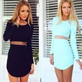 2017 S-XL Sexy Bandage Dress New Autumn Black Blue Dress Long Sleeve Mesh Patchwork Hollow Out Bodycon Dress Female Dresses C010
