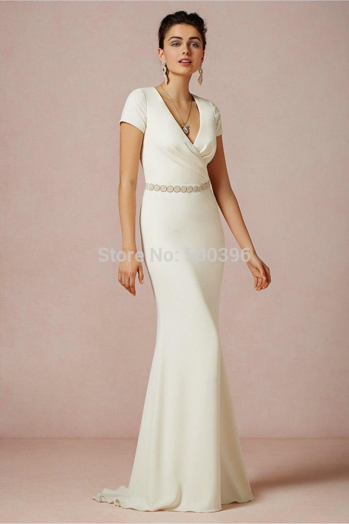 Us 11899 Simple Sheath Wedding Gown Short Sleeves V Neck Ivory Dresses Beaded Blet Beach Wedding Dresses In Wedding Dresses From Weddings Events