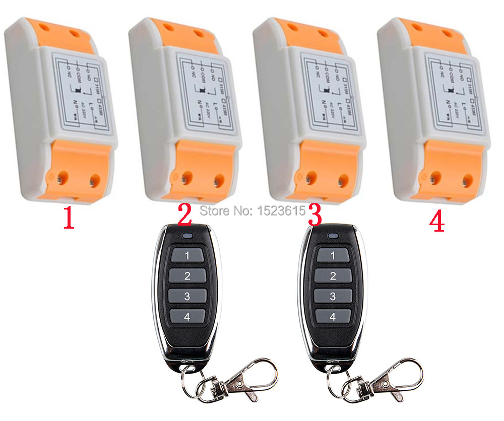 New 220V 1CH Wireless Power Switch System 4 Receiver& 2Transmitter Remote Controller 10A output state is adjusted new restaurant equipment wireless buzzer calling system 25pcs table bell with 4 waiter pager receiver