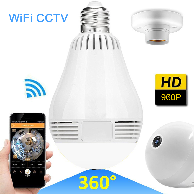 Home 360 Degree IP Camera 960P Panoramic Security Surveillance LED Light Bulb Wifi font b Wireless