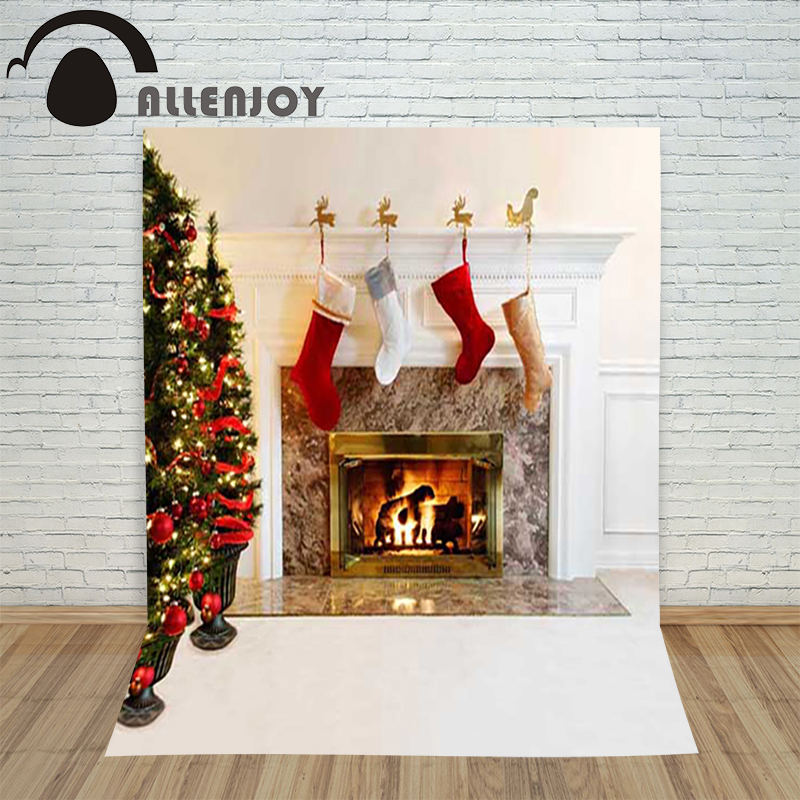 Allenjoy christmas photography backdrop xmas Tree Fireplace xmas Socks Retro children's photocall background Customize festive christmas tree photography background christmas lights fireplace wall decors backdrop xt 4525