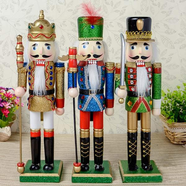 d326free shipping 38cm color pink nutcracker soldier wood christmas ornaments hand painted children toy christmas gifts 1pcs