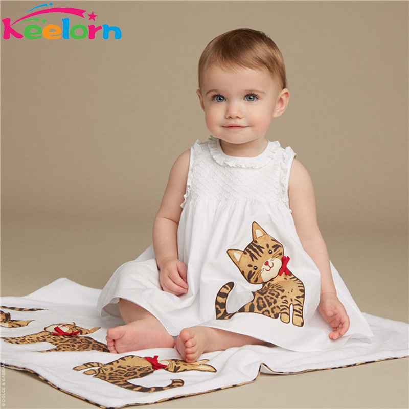 Keelorn Girls Dress 2017 New Summer Style Baby Girls Clothes Sleeveless Lace Cartoon Cat Printing for Princess Dresses 3-8year girlondon girlondon gi023ewhgf97