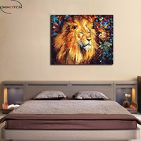 OKHOTCN Oil Paintings By Numbers On Canvas DIY Hand Painted Lion Picture Digital Coloring By Numbers