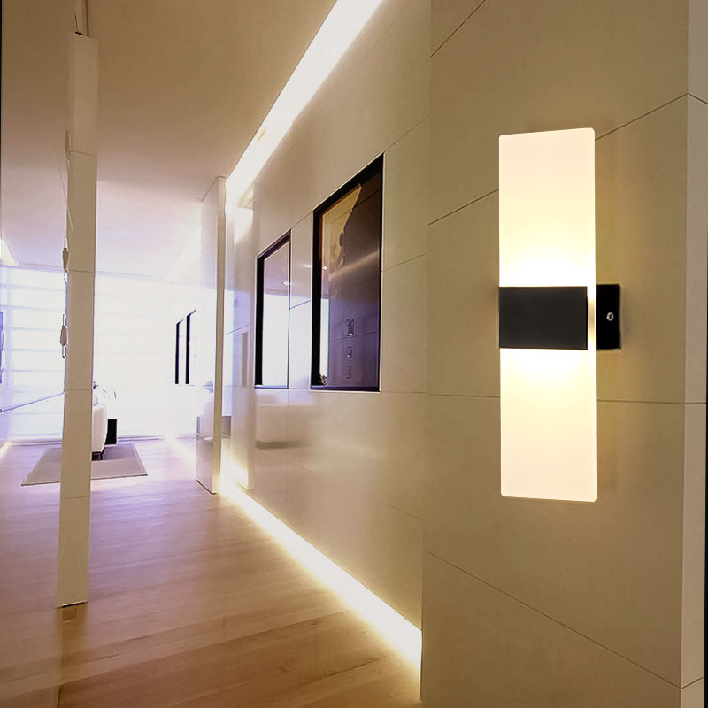 LED bedside lamp wall light creative acrylic corridor light apply aisle bedroom rectangular simple modern hotel