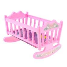 Multicolor Baby Schaukel Bett Kindergarten Wiege für 20cm Puppen Haus Schlafzimmer Möbel Rosa