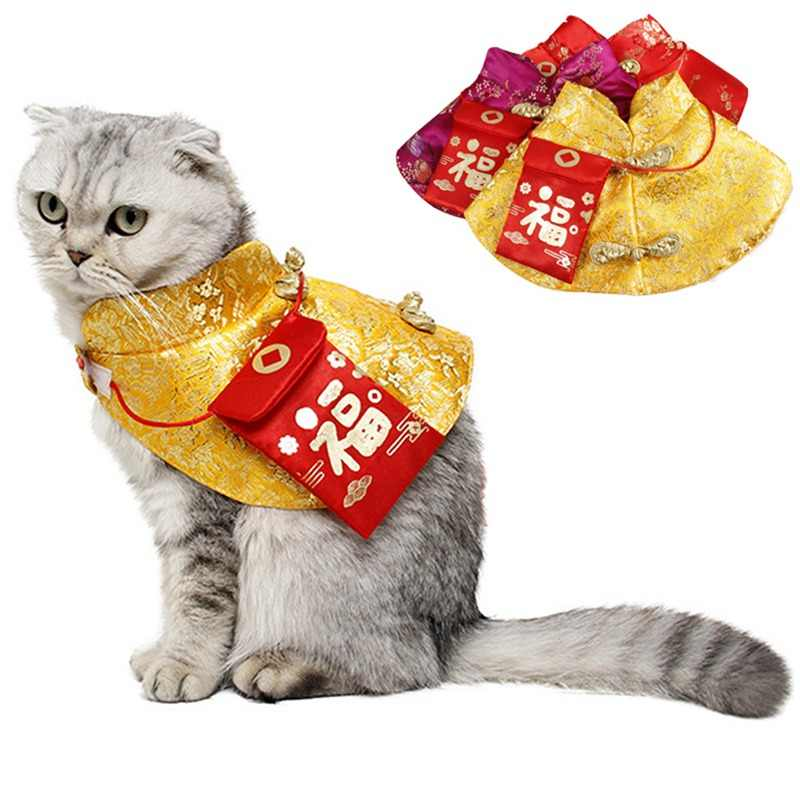 Lembut Anjing Kucing Tradisional Cina Pakaian Syal Baru Tahun Anjing Jubah untuk Musim Dingin Kostum Gaun Festival Aksesoris Anjing