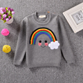 Hot Sale New Arrival European American Style Pure Cotton Toddler Kids Rainbow Printed Design Casual Long Sleeve Knitted Sweater