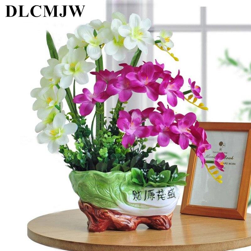 1pcs Artificial Plant bonsai Fake Plant Decor flower Green Plant Plastic Flower Potted For Home desktop