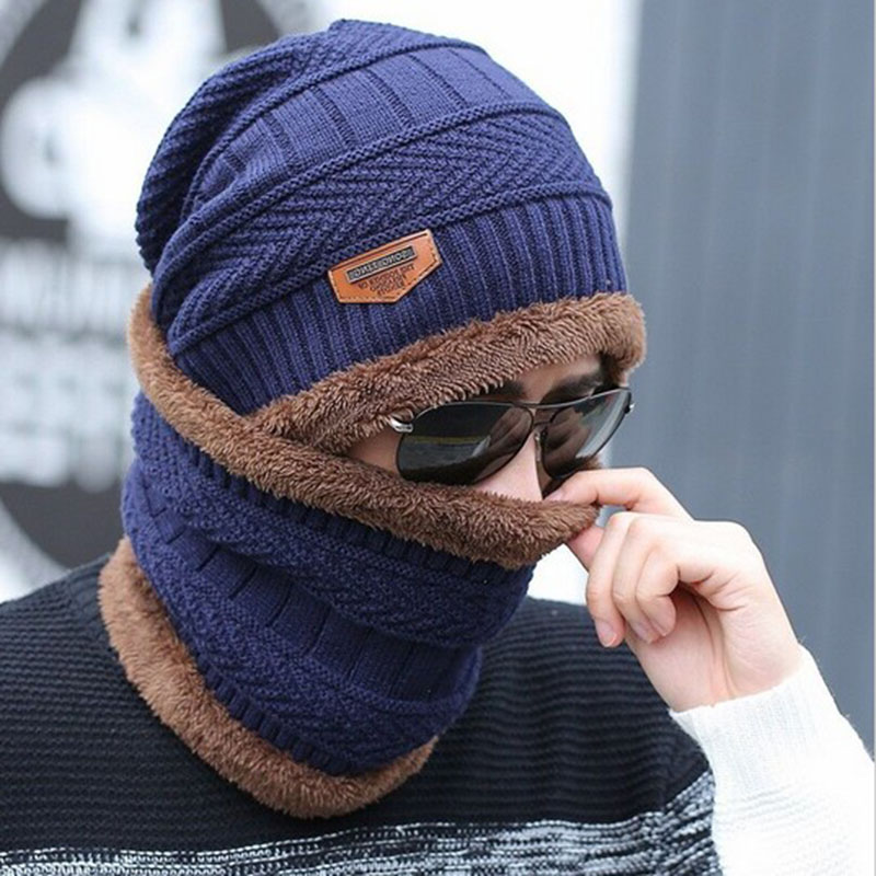 Neck warmer knitted hat scarf set fur Wool Lining Thick Warm Knit beanies balaclava Winter Hat For men women Cap Skullies bonnet 1
