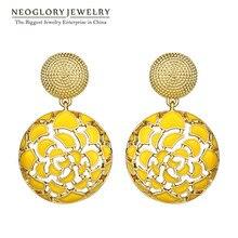 Neoglory, индийские ювелирные изделия, четыре цвета, круглые, в богемном стиле, Винтаж, эмаль, массивные Висячие серьги, в стиле панк, для женщин,, новые подарки