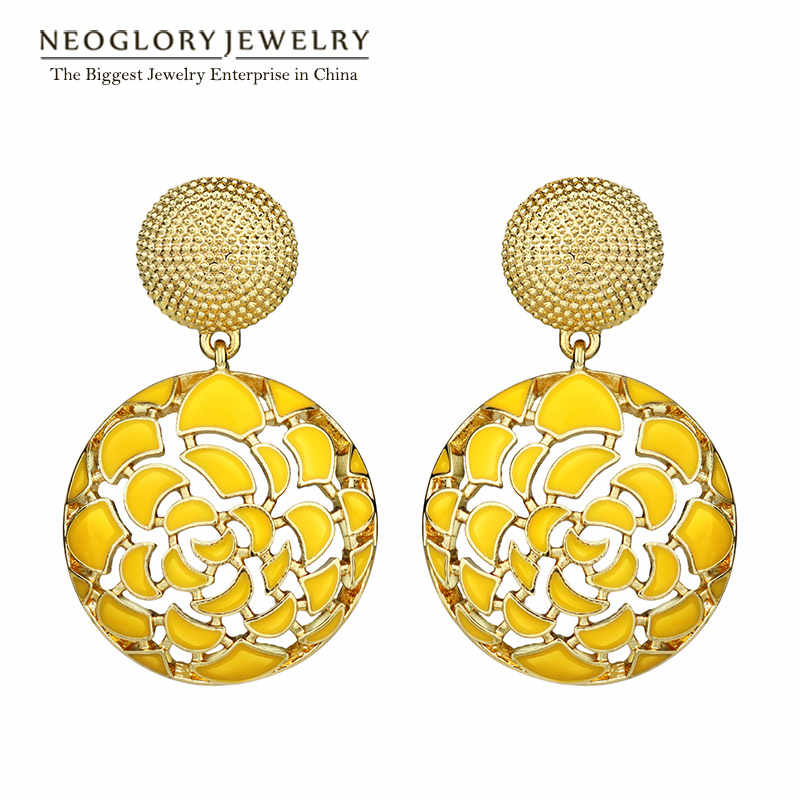 Neoglory Indian Jewelry Four Colors Round Bohemian Vintage Enamel Statement Drop Dangle Earrings Punk For Women 2019 New Gifts
