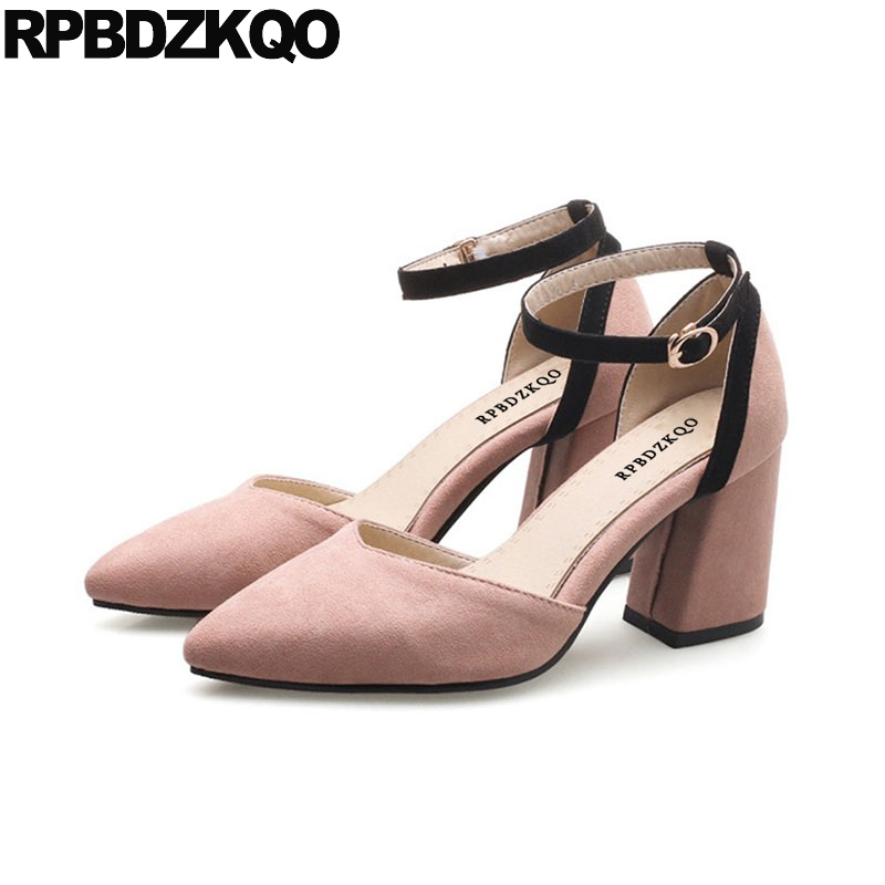 11 43 High Heels Chunky Pumps Ankle Strap Green Shoes For Women Pointed Toe 10 42 Pink 3 Inch Size 33 4 34 Big Suede Sandals summer new pointed thick chunky high heels closed toe pumps with buckle ankle wraps sweet sandals women pink black gray 34 40