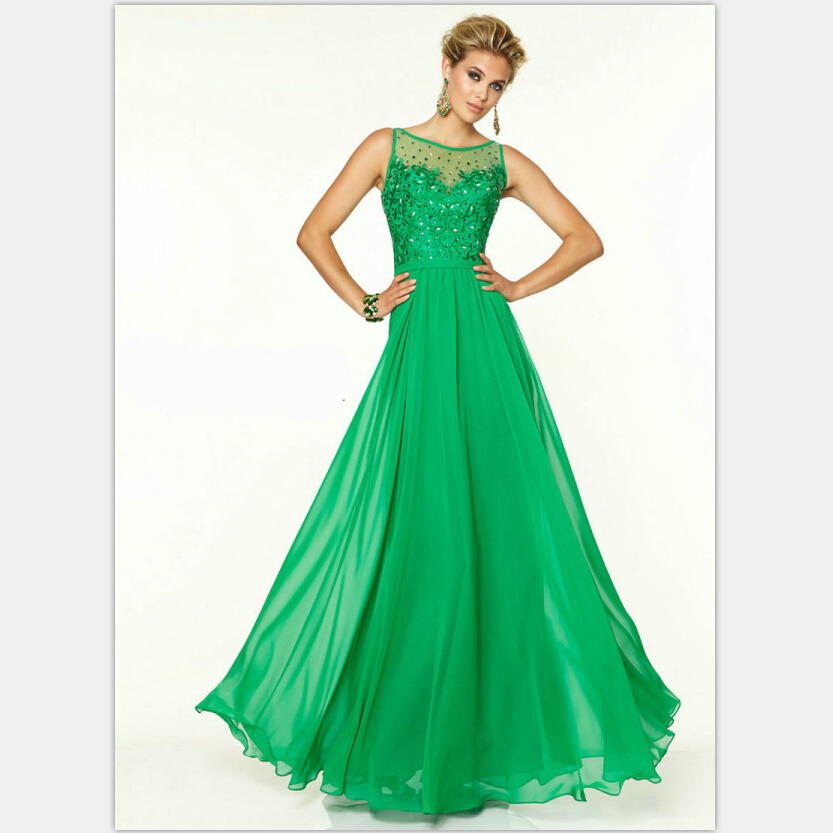 Aliexpress.com : Buy Emerald Green Prom Dress Chiffon Sleeveless ...